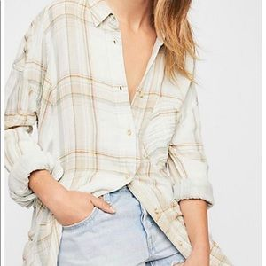 NEW Free People Nordic Day Plaid Buttondown